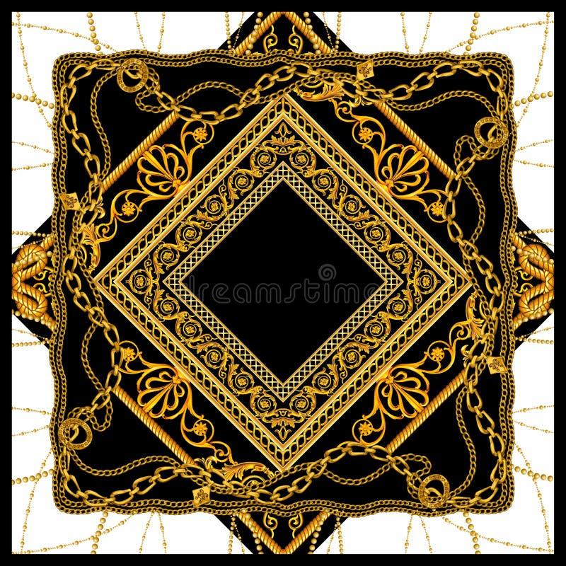 Barock för halsdukmodell för guld- kedja design vektor illustrationer