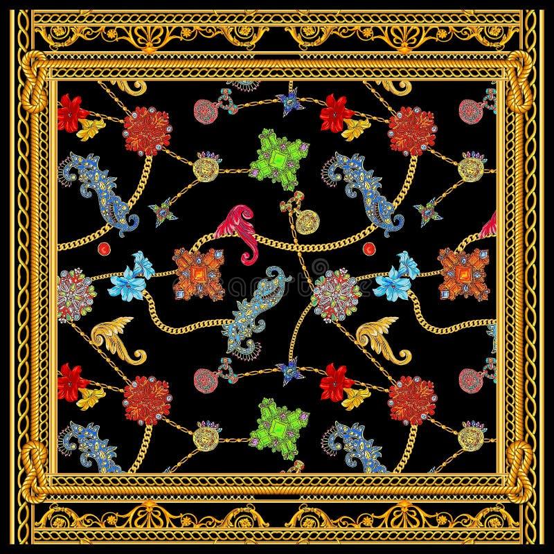Barock för versacehalsduk för guld- kedja design vektor illustrationer
