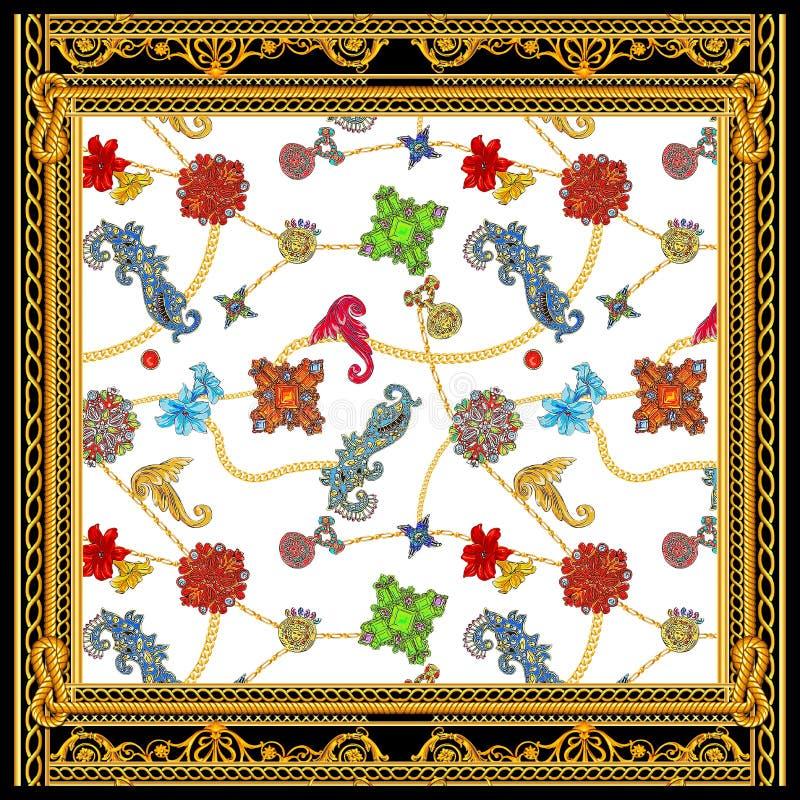 Barock för versacehalsduk för guld- kedja design royaltyfri illustrationer