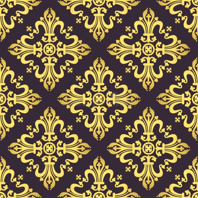 Barock prydnad för tappning, damast blom- lyxig sömlös modell, vektorillustration Guld- orientalisk tracery på mörka lilor royaltyfri illustrationer