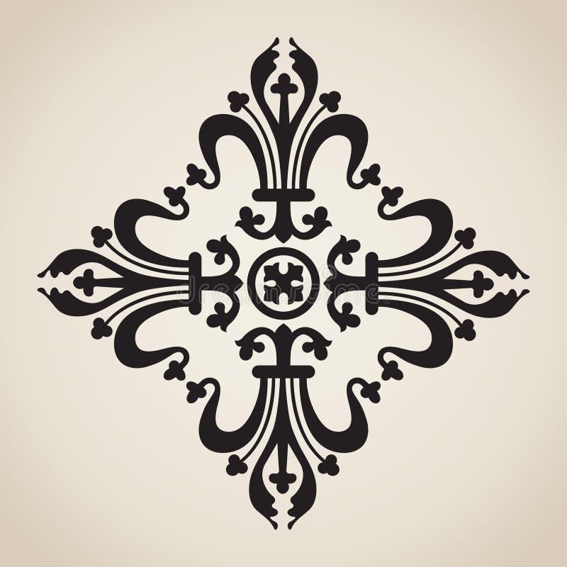 Barock prydnad för tappning i viktoriansk stil, dekorativ designbeståndsdel för filigran, retro utsmyckad orientalisk modell, ant stock illustrationer