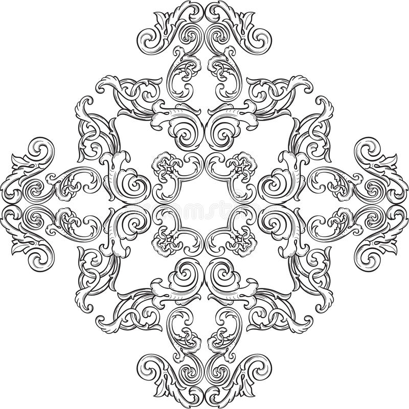 Barock rosett stock illustrationer