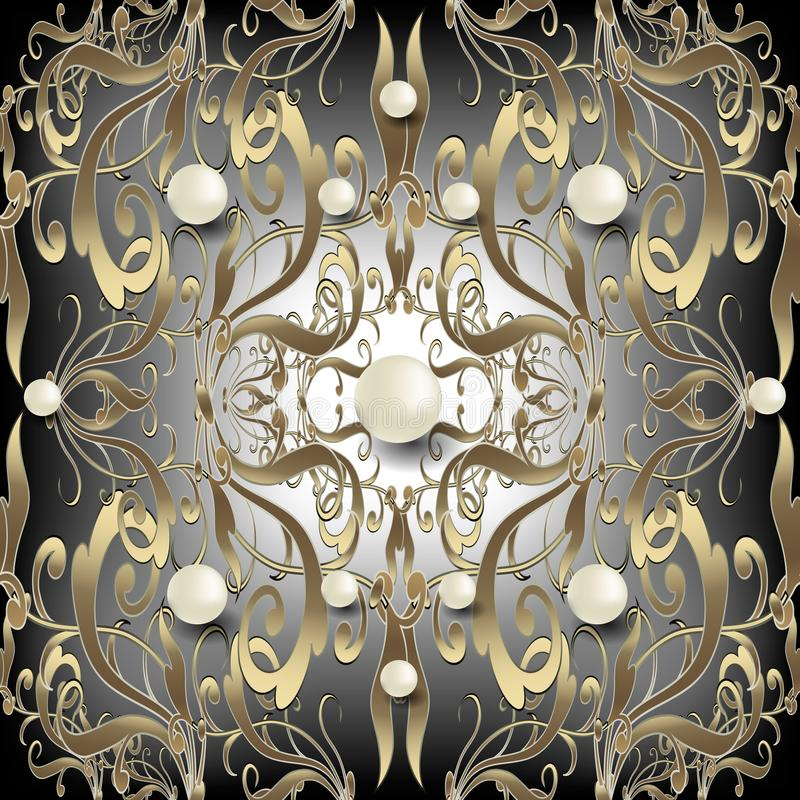 Barock sömlös modell för smycken 3d Damast bakgrund för utsmyckad vektor Vit yttersida pryder med pärlor gemstones Guld- blom- pr vektor illustrationer