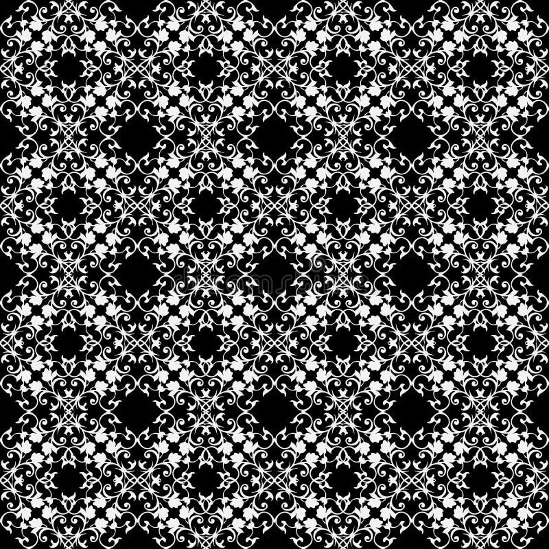 Barock snör åt den sömlösa modellen för vektorn Svartvit tappningla vektor illustrationer