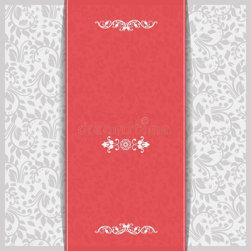 Barock stil för bröllopinbjudankort modell texturerad traditionell vektortappning stock illustrationer