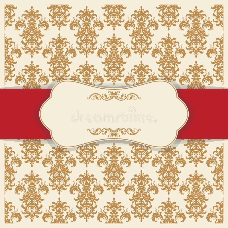 Barock stil för bröllopinbjudankort modell texturerad traditionell vektortappning Damascus stilprydnad Ram med blommabeståndsdela royaltyfri illustrationer