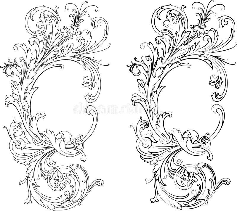 Barock zwei Arten: Traditionell und Kalligraphie stock abbildung