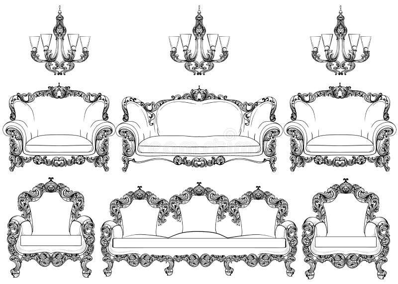Barocke Möbel Eingestellt Mit Luxuriösen Verzierungen Französische ...