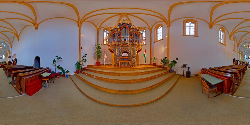 Barocke Pfeifenorgel in verbesserter Festungs-Kirche, Târgu MureÈ™, Rumänien lizenzfreies stockfoto