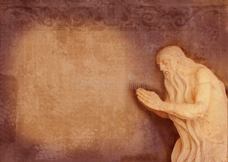 Barocke Skulptur des heiligen Ältesten, Gebet in einer Höhle Kann als Hintergrund für den Text des Gebets verwendet werden Einlad stockfotos