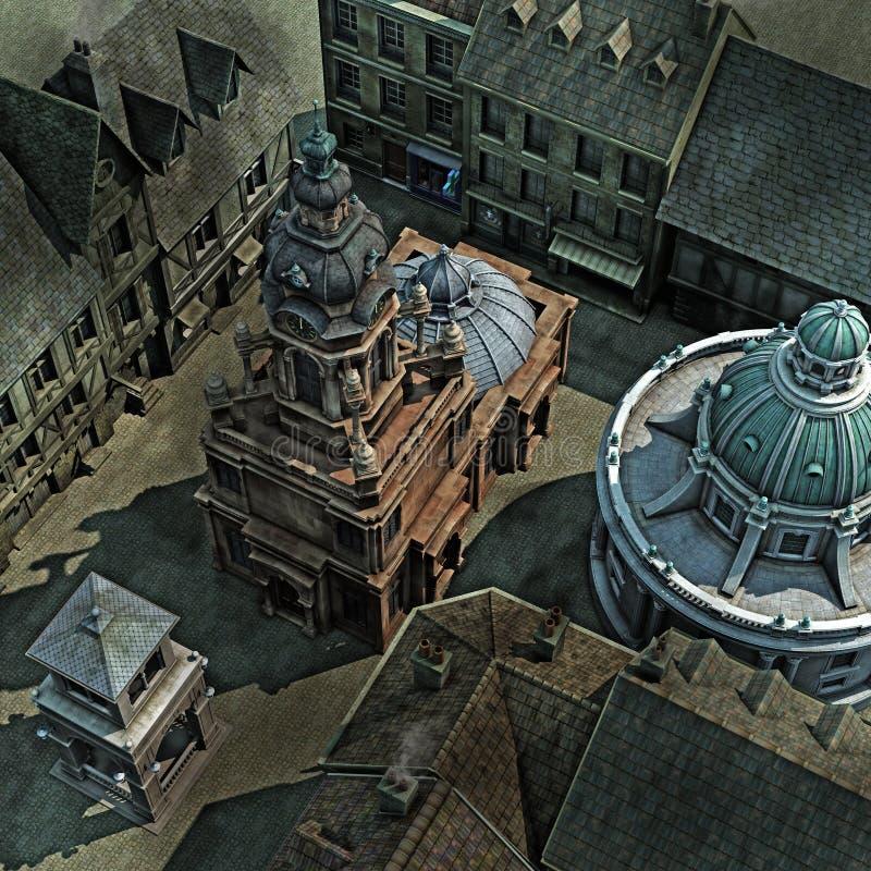 Barocke Stadt-Dach-Oberseite stock abbildung