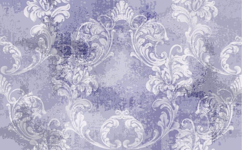 Barocker Beschaffenheitsmuster Vektor Blumenverzierungs-Dekoration Viktorianischer gravierter Retro- Entwurf Weinlesegewebedekors stockbilder