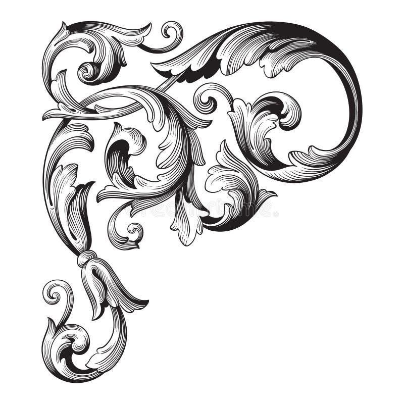 Barocker Verzierungsvektor der Weinlese lizenzfreie abbildung