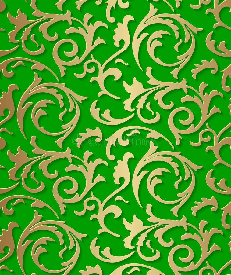 Barockes goldenes Muster des nahtlosen Damastes auf grünem Hintergrund stock abbildung