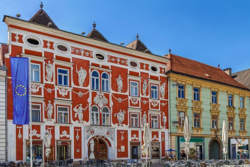 Barockes houese auf Hauptplatz, Leoben, Österreich stockfotografie