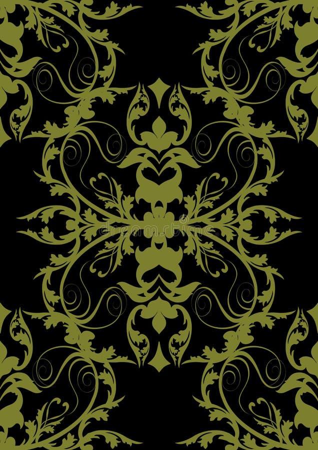 Barockes nahtloses Gold auf Schwarzem lizenzfreie abbildung
