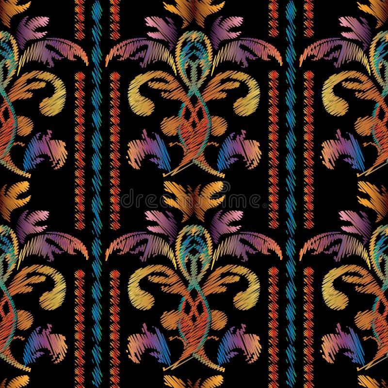 Barockes nahtloses Muster der gestreiften Stickerei Weinlesevektorrückseite vektor abbildung