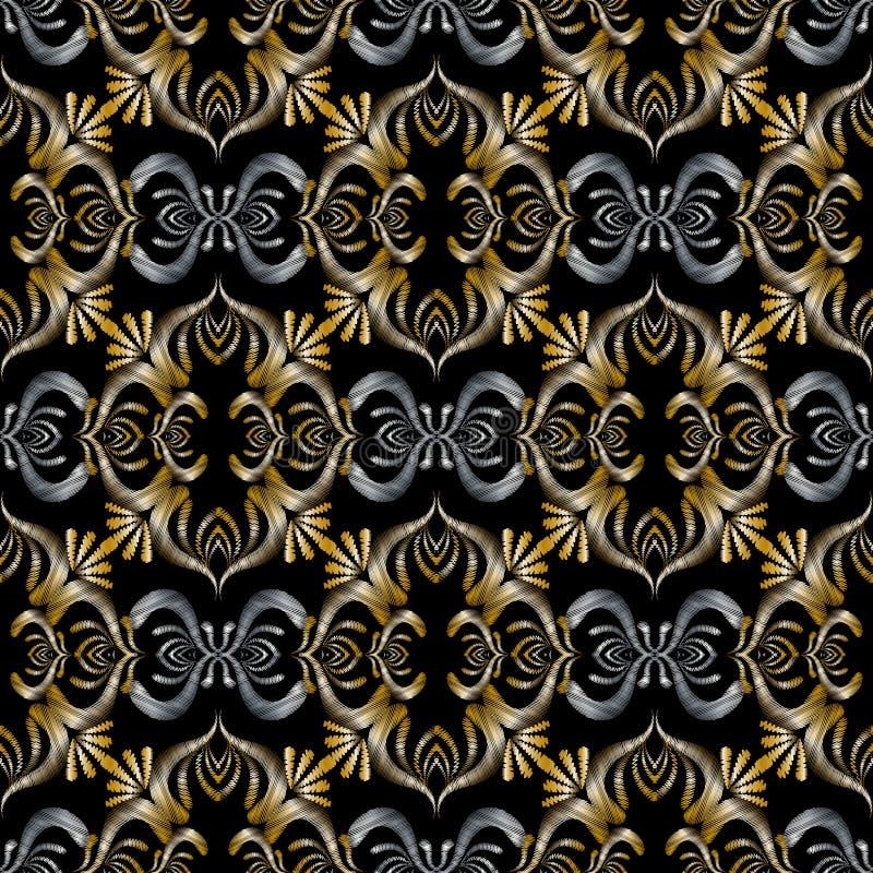 barockes nahtloses Muster der Stickerei 3d Schwarzes Silber des Vektors Gold vektor abbildung