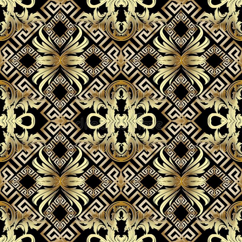 Barockes nahtloses Muster des Gold 3d Griechischer Weinlesehintergrund lizenzfreie abbildung