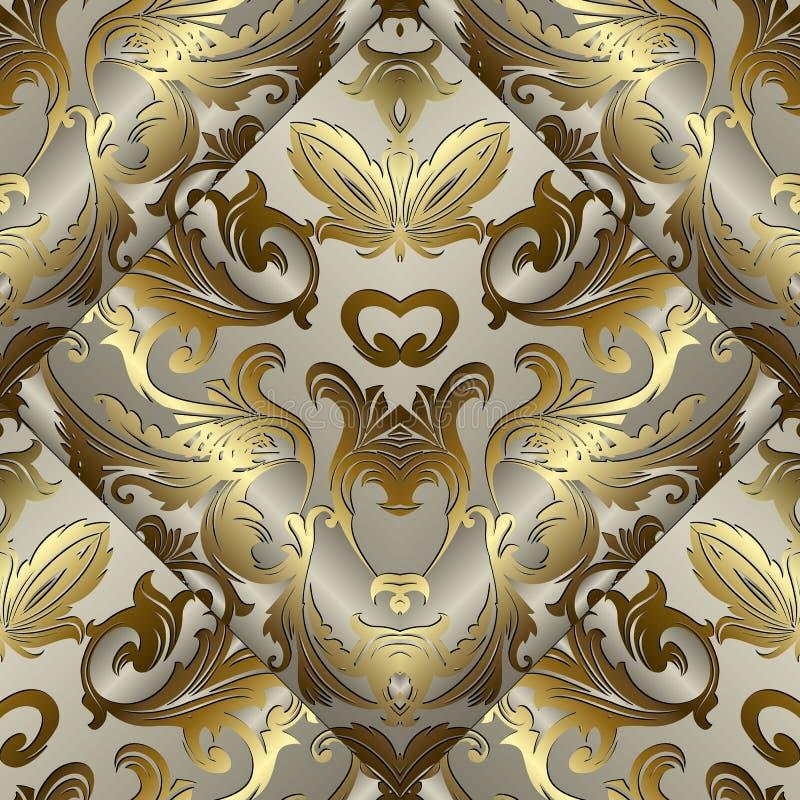 Barockes nahtloses Muster des Gold 3d Vektor antikes goldenes backgrou lizenzfreie abbildung