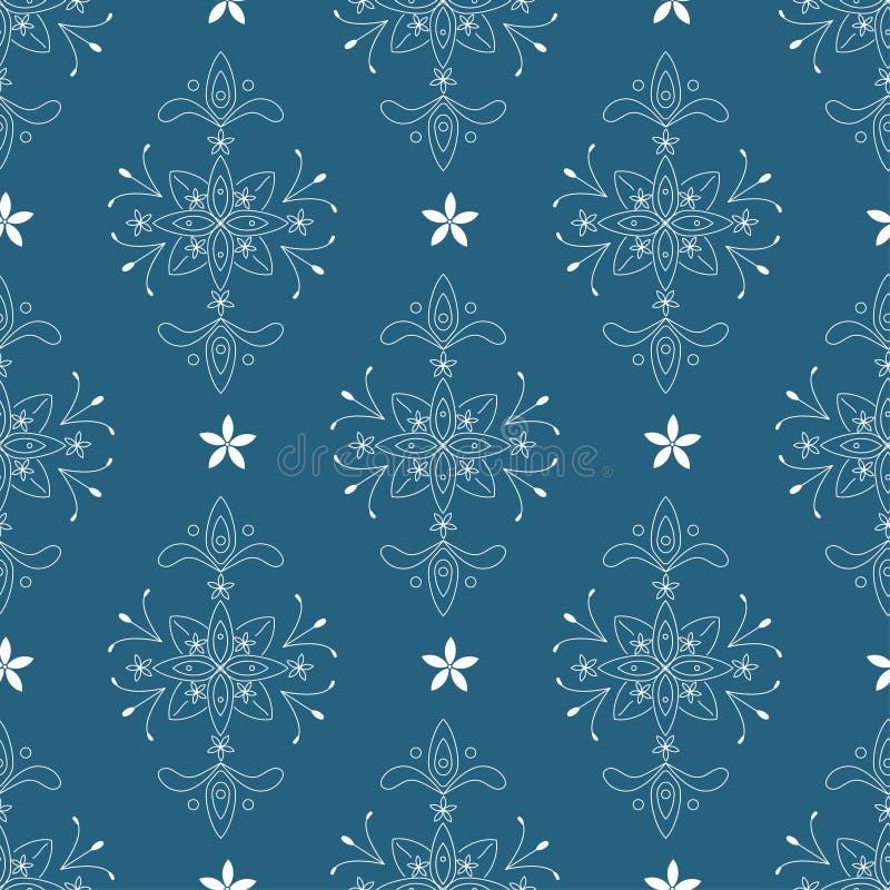 Barockes nahtloses Muster des Vektors von weißen Elementen auf dem blauen Hintergrund lizenzfreie abbildung