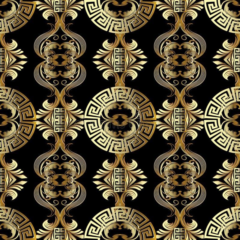 Barockes nahtloses Muster Griechischer Vektorhintergrund Weinlesegold stock abbildung