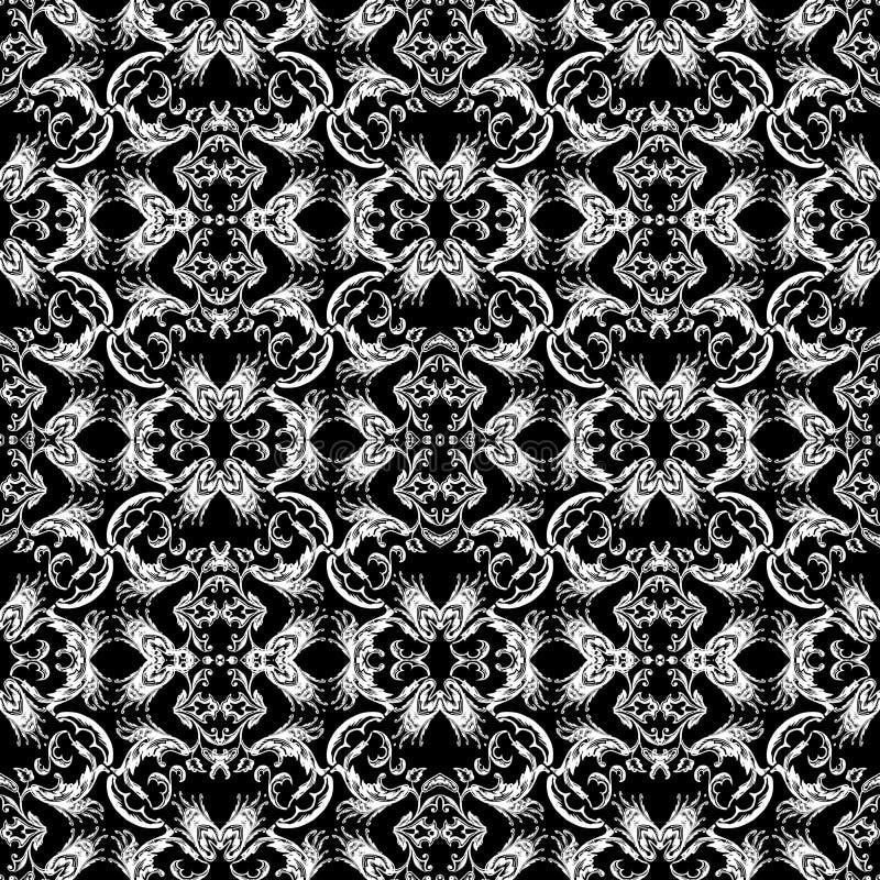 Barockes nahtloses Muster Schwarzweiss-- Weinlese Blumen-backgro stock abbildung