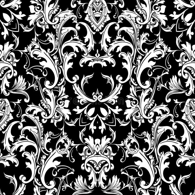 Barockes schwarzes weißes nahtloses Muster Luxusblumenhintergrund w lizenzfreie abbildung