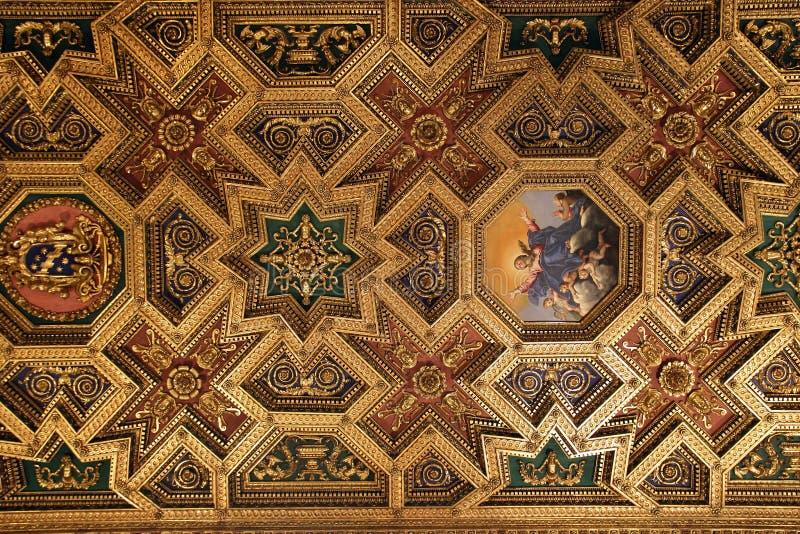 Barockt tak i Santa Maria i Trastevere, Rome royaltyfri foto
