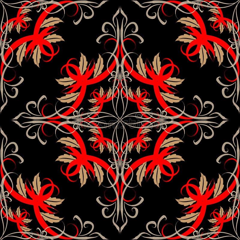 Barok bloemen vector naadloos patroon Kleurrijk Damast uitstekend ornament Elegantie bloemrijke decoratieve achtergrond Getrokken royalty-vrije illustratie