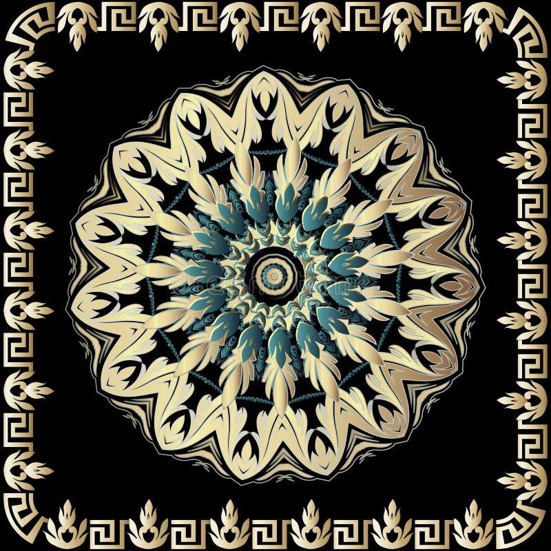 Barok 3d rond mandalapatroon De vector sierachtergrond met uitstekende Griekse sleutel kronkelt kader Bloemen uitstekende cirkel stock illustratie