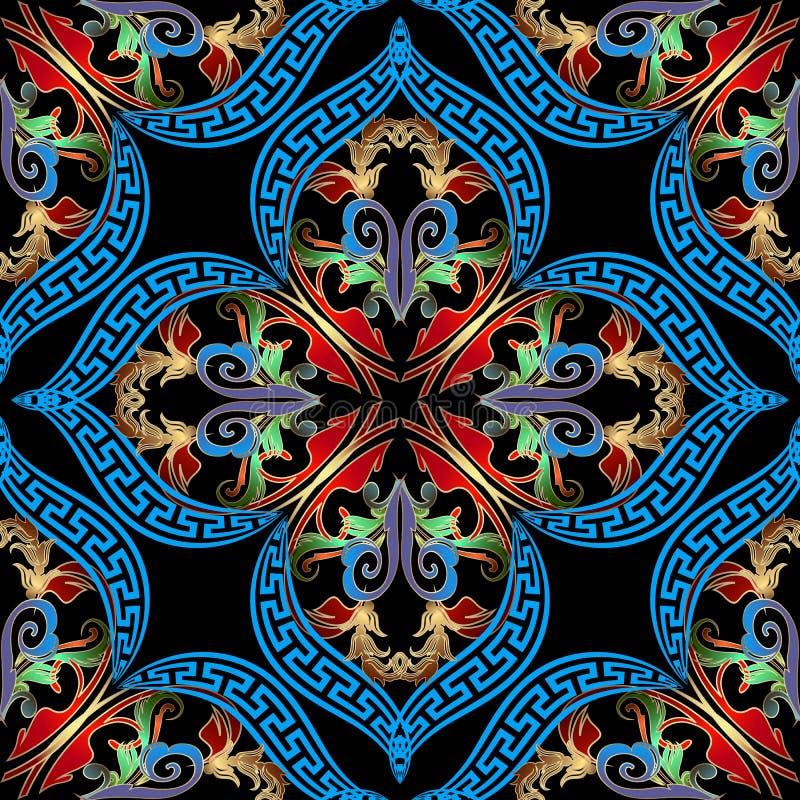Barok Damast kleurrijk vector naadloos patroon Oud Grieks zeer belangrijk meandersornament Vector sier uitstekende achtergrond or royalty-vrije illustratie