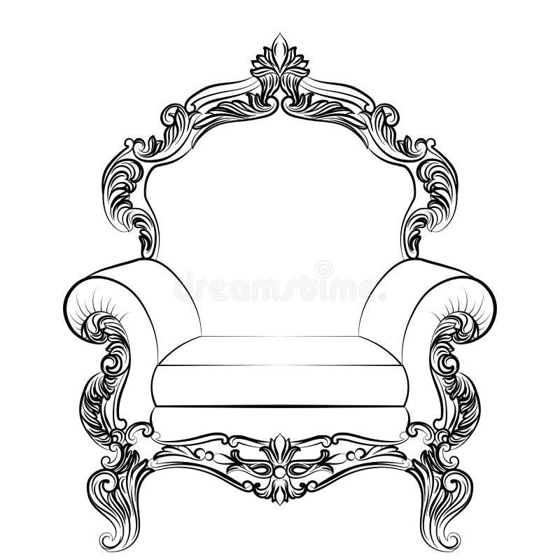 Barok de leunstoelmeubilair van de luxestijl royalty-vrije illustratie