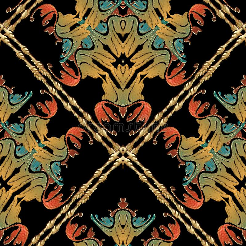 Barok gestreept bloemenborduurwerk naadloos patroon stock illustratie