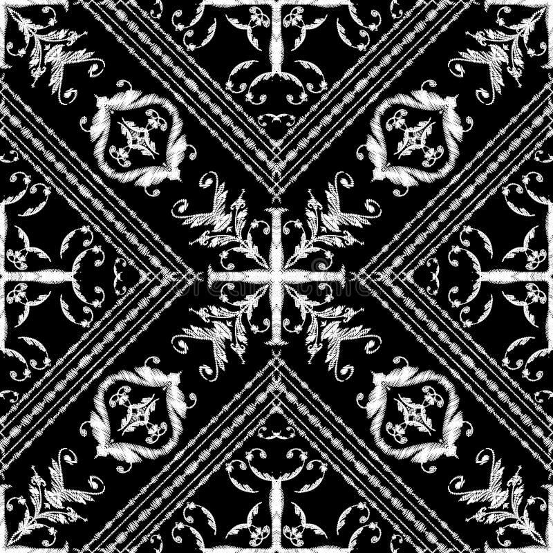 Barok gestreept bloemenborduurwerk naadloos patroon Vectorgrungetextuur Patroon van tapijtwerk het uitstekende barokke bloemen me vector illustratie