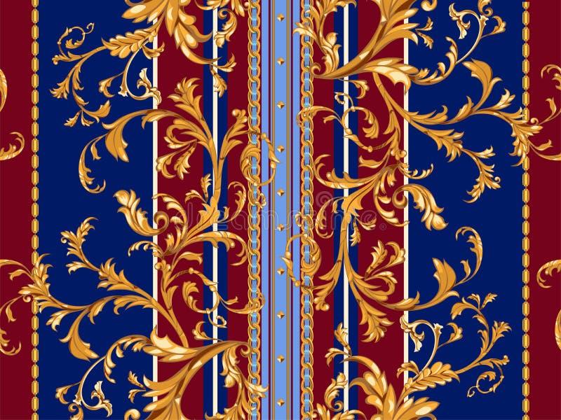Barok gestreept naadloos patroon met gouden bladeren en kettingen Gestreept flard voor sjaals, druk, stof stock illustratie