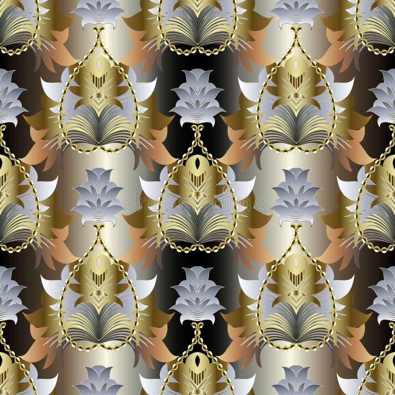 Barok gouden overladen vector naadloos patroon Damast sier gestreepte achtergrond Herhaal de achtergrond van het de liefdehart va stock illustratie