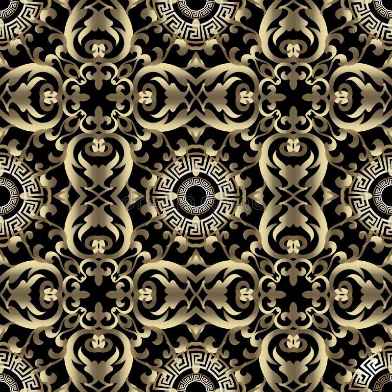 Barok gouden vector naadloos patroon Griekse zeer belangrijke meander sier uitstekende achtergrond Ronde Griekse mandalas geometr royalty-vrije illustratie