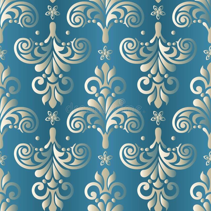 Barok naadloos patroon Het damast Wallpaper Vector illustratie stock illustratie