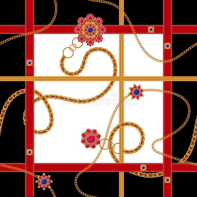 Barok naadloos patroon met kettingen, riemen en gemmen Vectorflard voor druk, stof, sjaal royalty-vrije illustratie