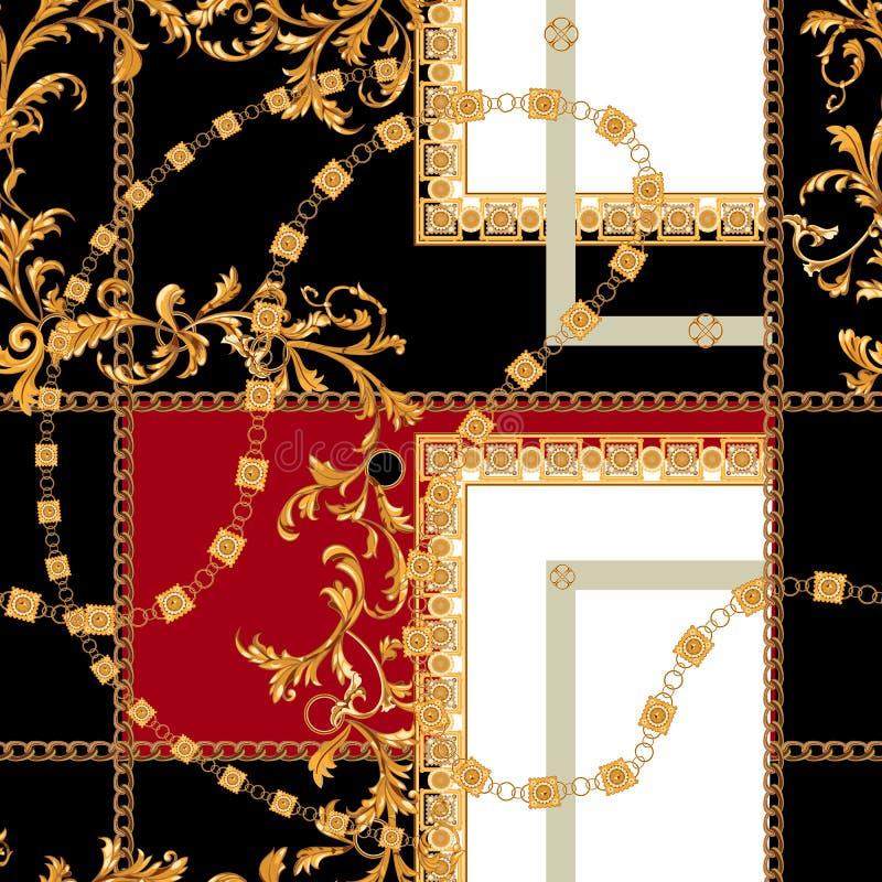 Barok naadloos patroon met kettingen Vectorflard voor druk, stof, sjaal stock illustratie