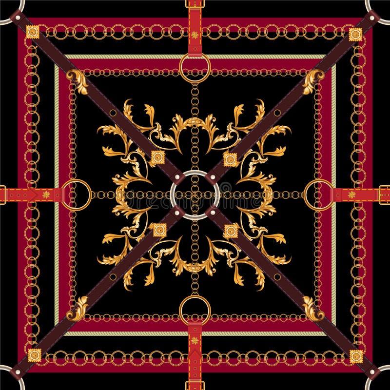 Barok naadloos patroon met riemen, bladeren en kettingen Vectorflard voor druk, stof, sjaal vector illustratie