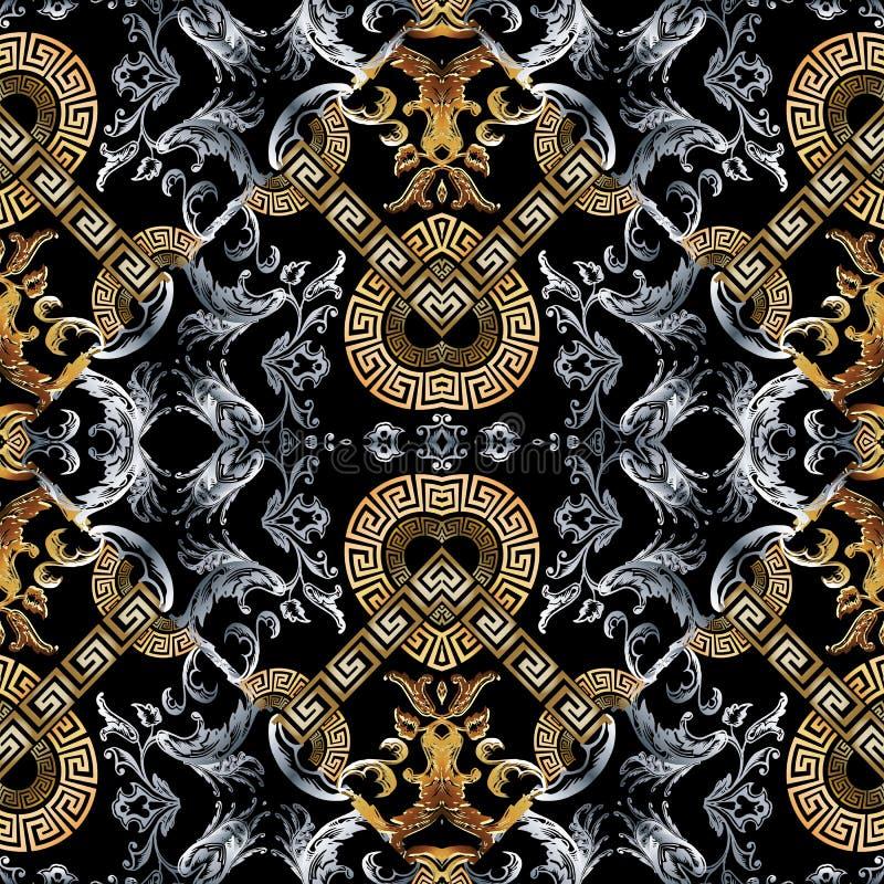 Barok naadloos patroon Zwarte vectordamastachtergrond wallpap stock illustratie