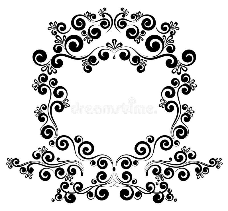 Barok ramy granicy monograma kwiecisty ornament royalty ilustracja