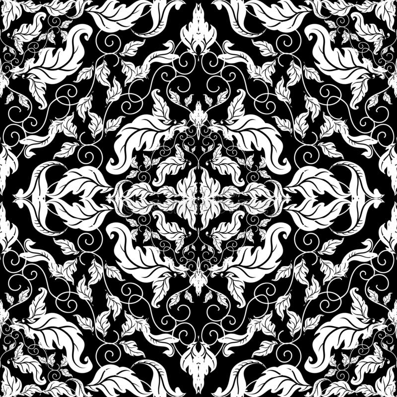 Barok sier uitstekend naadloos patroon Vectordamastachtergrond De barokke stijl herhaalt achtergrond Hand getrokken tracery van d royalty-vrije illustratie