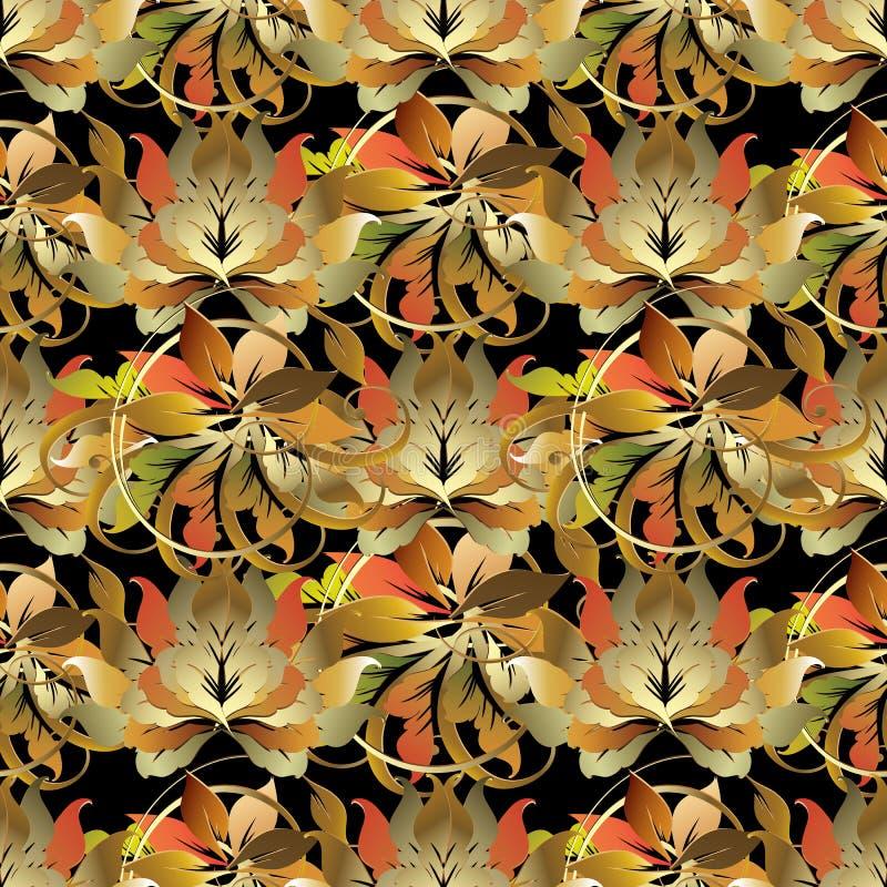 Barok stijl blad 3d naadloos patroon De vectorherfst backgroun vector illustratie