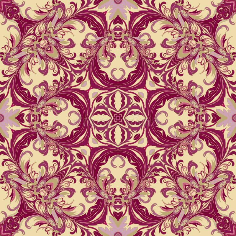 Barok stijl bloemenbehang Naadloos vectorpatroon Vierkante tegel royalty-vrije illustratie