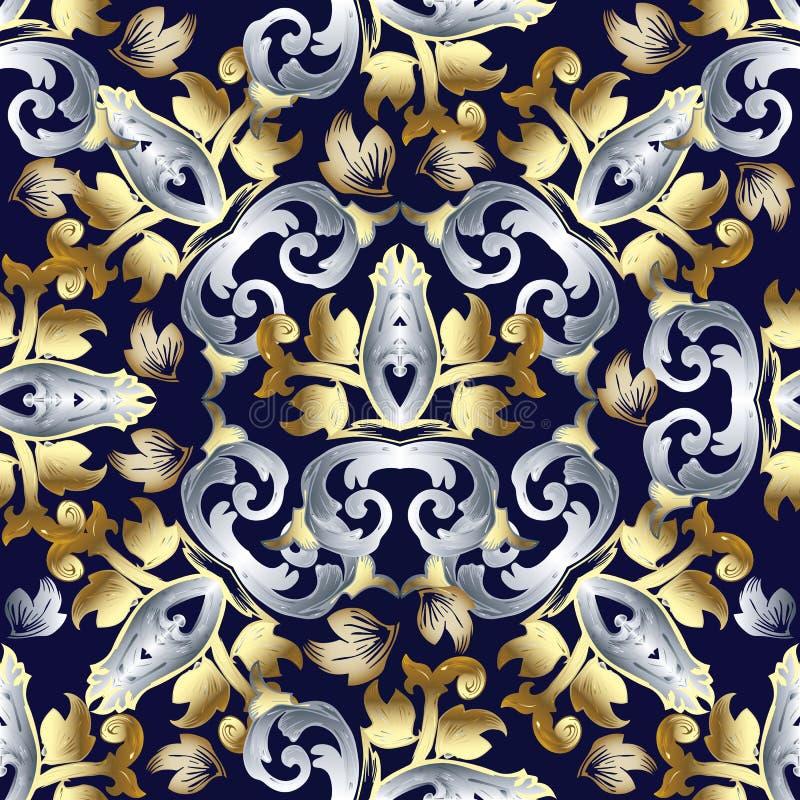Barok vector naadloos patroon Uitstekende bloemenachtergrond wallp vector illustratie