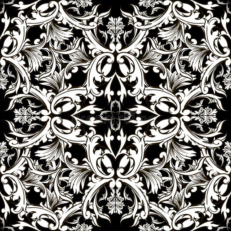 Barok zwart-wit vector naadloos patroon Damast bloemenb stock illustratie