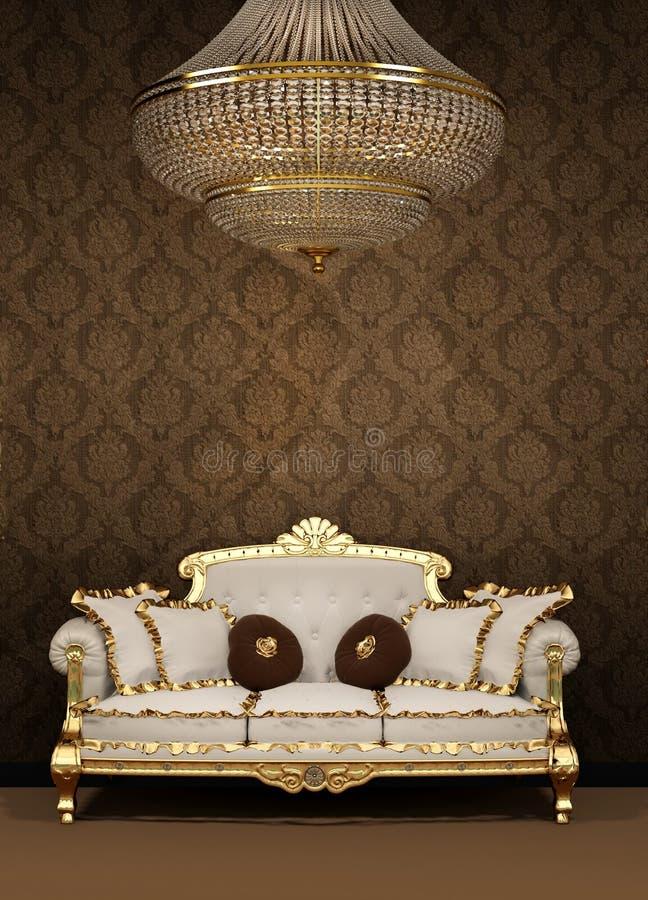 Barokke bank en kroonluchter in luxeflat vector illustratie